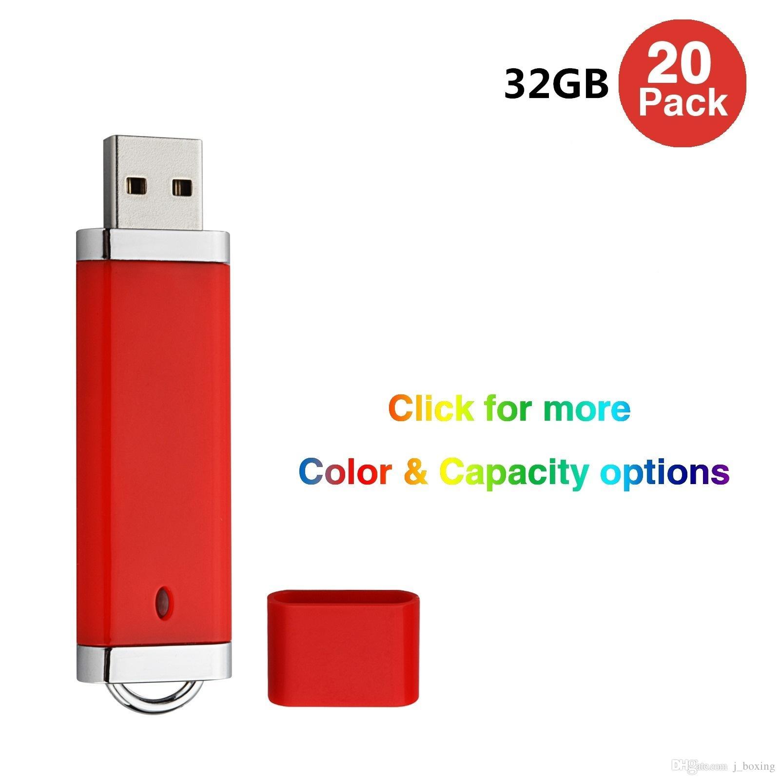 Bulk 20 Lighter Design 32GB USB 2.0 Flash Drives Flash Memory Stick Pen Drive for Computer Laptop Thumb Storage LED Indicator Multi-colors