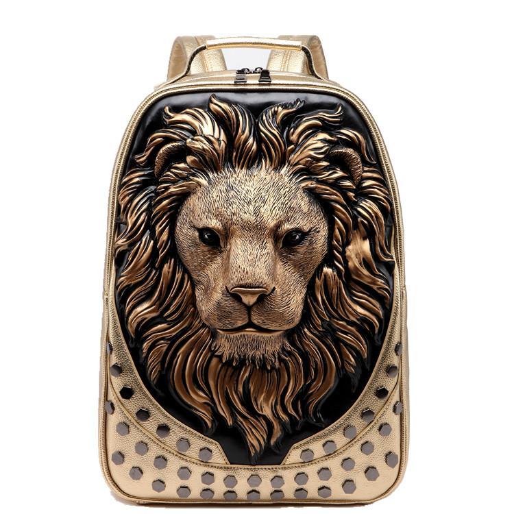 Pelle Designer Handbag MCO 3D in rilievo della testa del leone con borchie Rivet Galtri donne dell'unità di elaborazione dello zaino degli uomini molli di viaggio Zaini portatile Scuola di Halloween