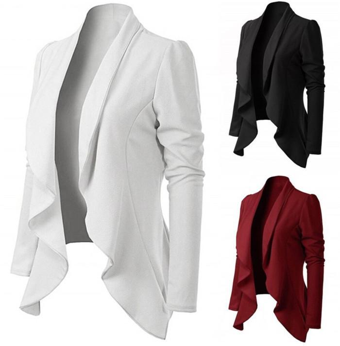 Kadınlar Slim Fit Blazers Uzun Kollu Katı Renk Yaka Boyun Dalgalı Düzensiz Hem Suit Dişi Casual Giyim