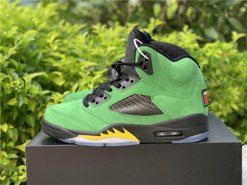 Nueva Aire auténtico 5 SE Oregon Ducks zapatos de baloncesto de Apple Verde Amarillo Negro Huelga Jumpman reflectante retro Hombres zapatillas de deportes con la caja