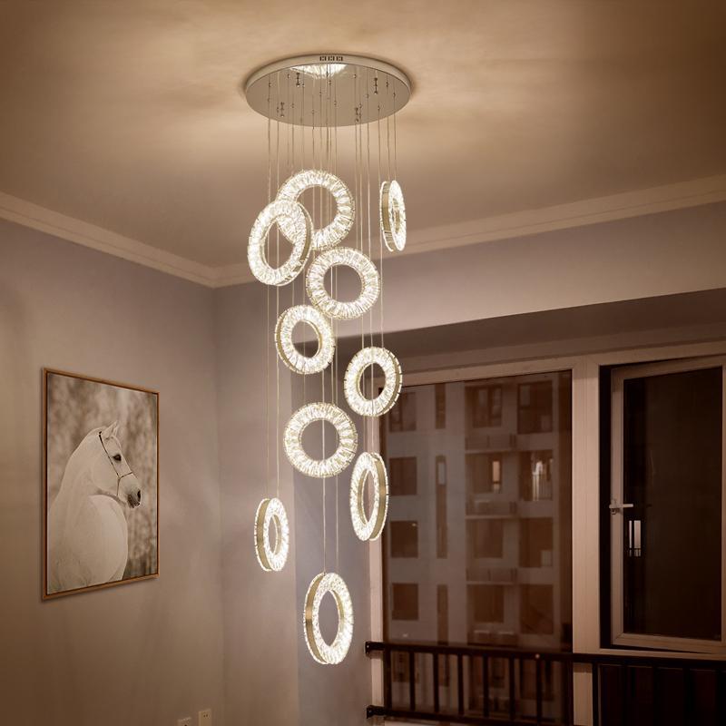 Led Kristall-Kronleuchter moderne Treppe Kronleuchter Angelschnur Aussetzung lange hängende Deckenleuchte Landhaus Loft Lampe
