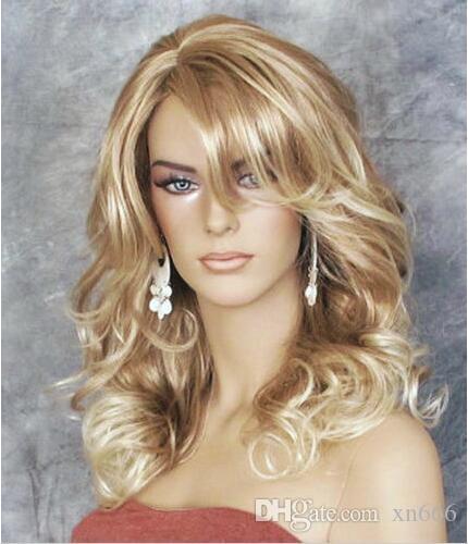 Pretty Sexy Women Wig Mix Dark Blonde Medium Wavy Synthetic Hair