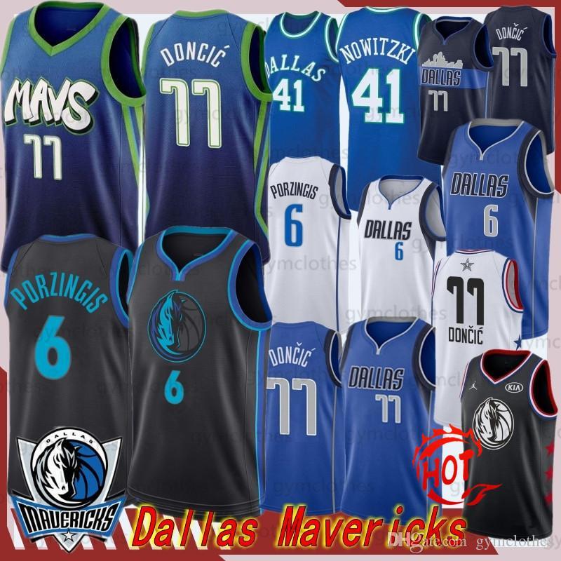 Luka 77 Doncic Men + Crianças Maverick jersey Kristaps 6 Porzingis NCAA Dalla Basketball Jersey Kristaps 6 Porzingis Luka 77 Doncic