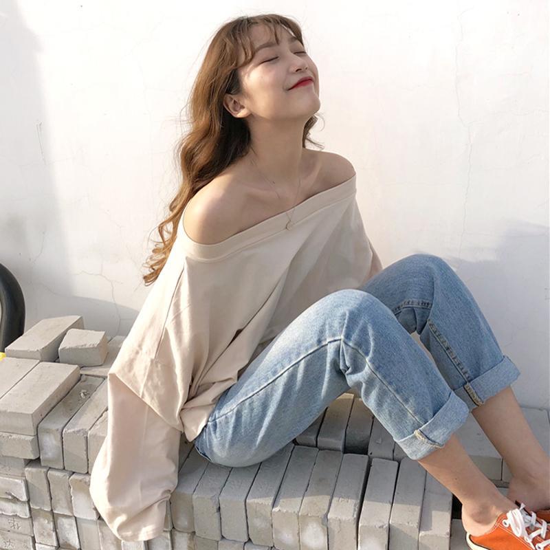 2a6934ea534 Mihoshop Ulzzang Korean Korea Women Fashion Clothing Summer Casual Preppy  All Match Boat Neck T Shirt Tops Chic Shopping T Shirt Online Cool T Shirt  ...