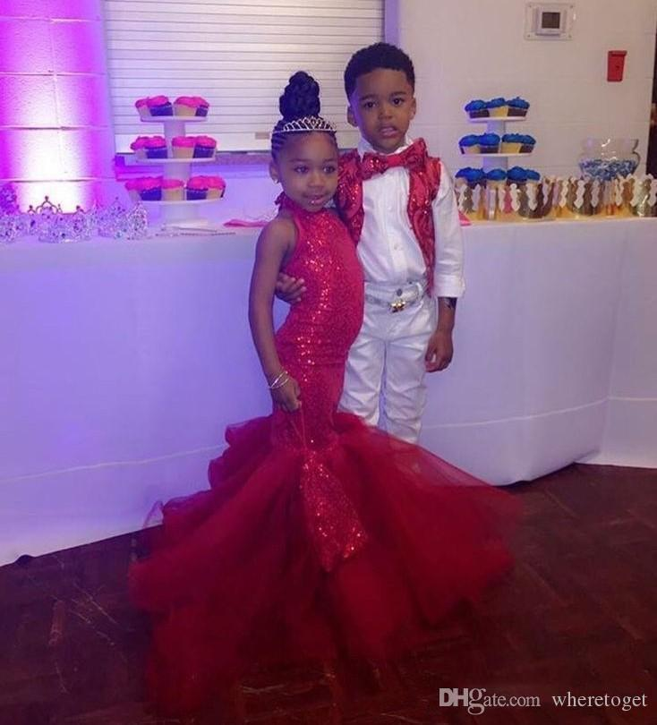 2019 Fashion Sparkling Red Sequins Plus Size Girls Pageant Dresses With  Mermaid Tulle Ruffles Floor Length Prom Dress For Girl Little Girls Easter  ...
