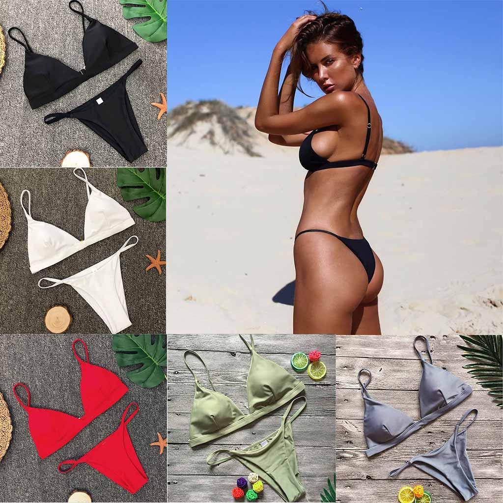 Sexy Triangle Bikini Set Swimwear Women Solid Swimsuit Thong Biquini Female Maillot De Bain Bathing Suit Swimming Suit Swim Wear