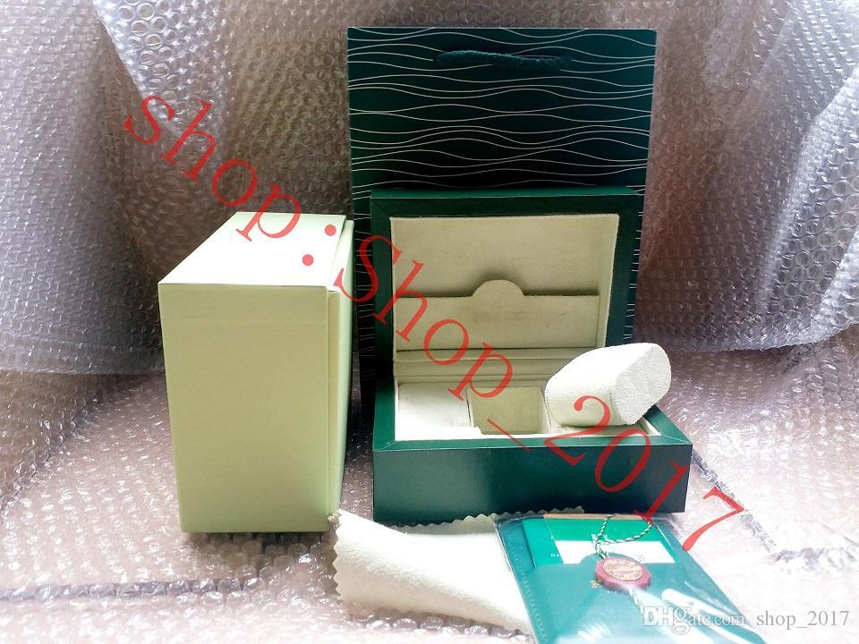 10 / lot De Luxe Nouveau Style Marque Vert Montre Originale Boîte En Bois Papiers Cadeau Montres Boîtes Sac en Cuir Carte Pour Rolex Boîte 116600 Boîte À Montre 005