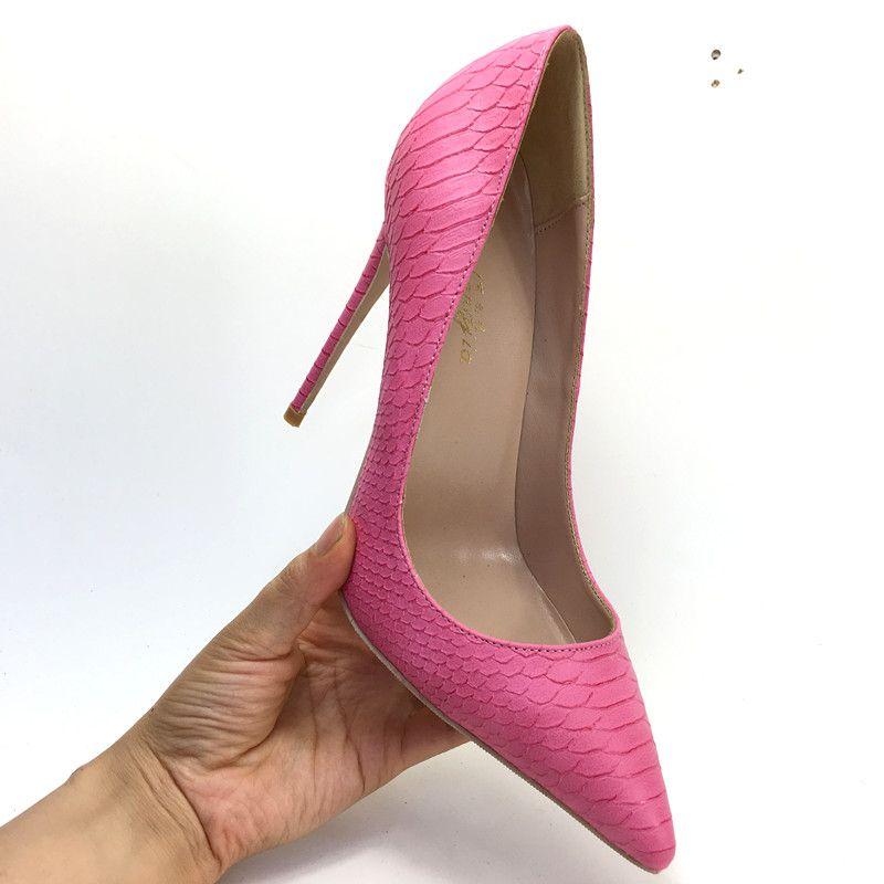 2019 envío gratis moda mujer señora Rose pitón rojo cuero Poined Toes tacones de tacón alto zapatos de tacón de aguja zapatos bomba 12 cm 10 cm