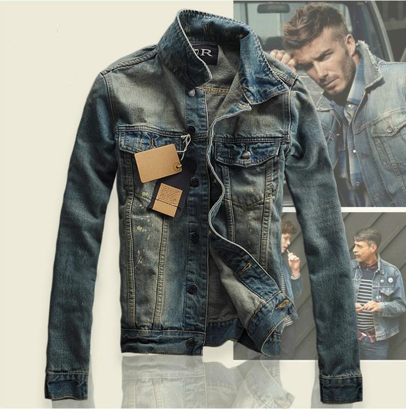 Мужские куртки Hi-Street Мужчины разорванные джинсы промывают пэчворк проблемный джинсовый мужчина Slim Fit Streetwear Hiphop старинные куртки