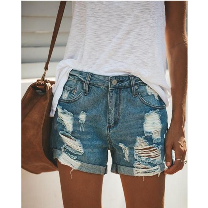 2020 лето джинсовые короткие джинсы женщины Сексуальная Высокая Талия отверстие рваные шорты мода повседневная тонкий плюс размер джинсовые шорты леди hotpants MX200407