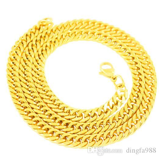 18K Gold Plated Stainless Steel Necklace Men's Matching Chain 7MM Thick Chain Flat Snake Bone Chain