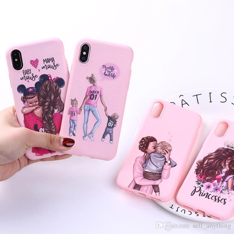 Pour Iphone 11 Pro Xs Max Xr Tendance Sexy Mom Phone Case 6 7 8 X Plus Lady Frosted doux Cas de téléphone cellulaire