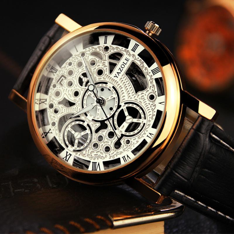 YAZOLE Men Watch Top Brand Luxury Skeleton Wrist Watch Men Watches Hollow Men's Watch Clock erkek kol saati relogio masculino