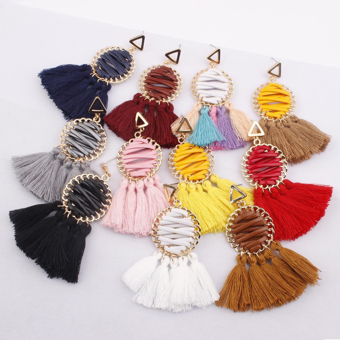 2020 style bohème ethnique Tassel Boucles d'oreilles rondes tissés à la main Creative Mesh femmes Boucles d'oreilles Bijoux Accessoires de mode 11 Styles