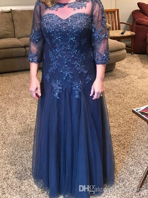 Blue Mother Of The Bride Dresses A-line 3/4 Sleeves Tulle Appliques Beaded Plus Size Long Groom Mother Dresses For Weddings