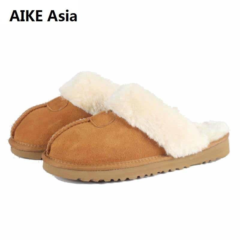 Donne in Australia invernali Indoor pantofole 100% vera pelle Warm Home pattini pantoffels dames Unisex Cotone pantofole EUR 34-45 CJ191212