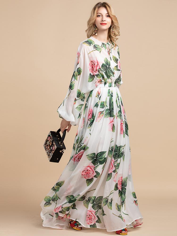 Yaz Moda Pist Boho Maxi Elbiseler kadın Uzun Kollu Gül Çiçekler Baskı Tatil Zarif Parti Uzun Elbise