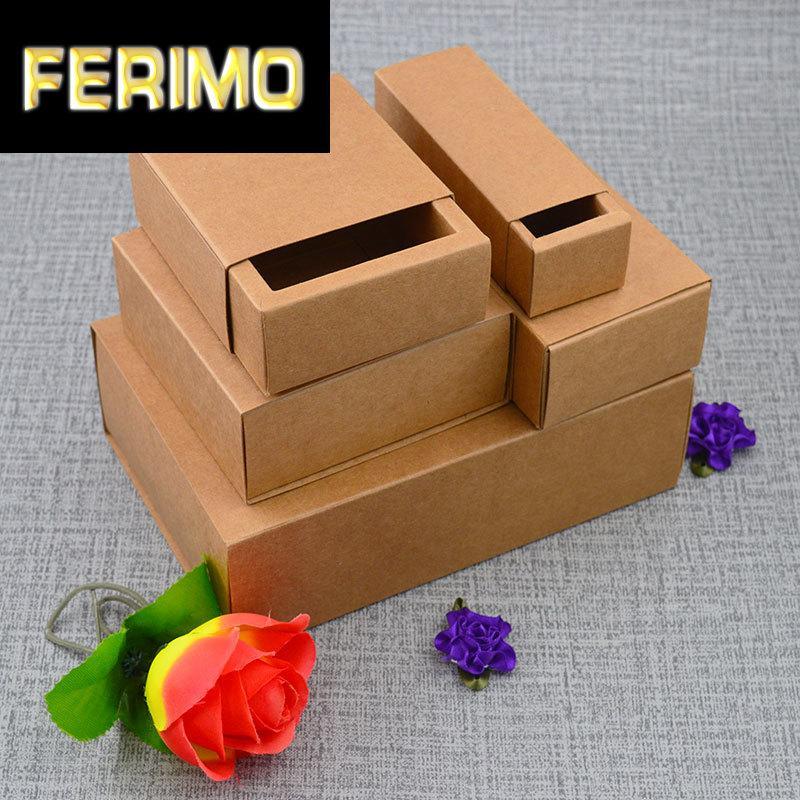 20pcs 38Sizes Brown Kraft Geschenkverpackungen box Kraft leere Karton Papier Geschenkpapierkasten Schublade Form Karton Karton