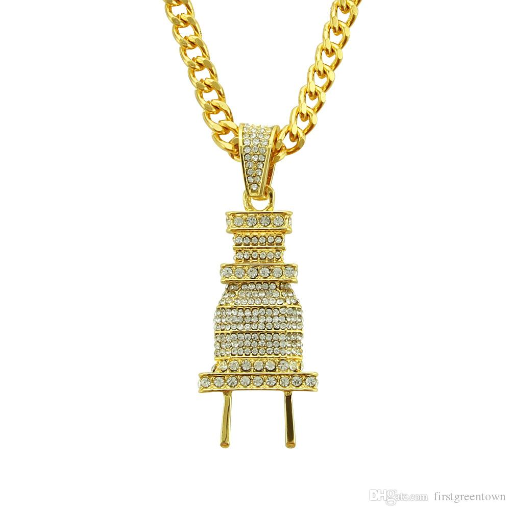 Hip Hop Rap Full Diamond Plug Pendant Necklace Gold Plated Silver Plated Cuban Chain Iced Out Alloy Pendant Necklace