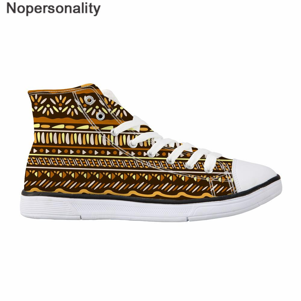 Nopersonality style ethnique vulcaniser Chaussures Femmes Flats Sneakers Casual Lady High Top Chaussures de toile Femme de rue cool