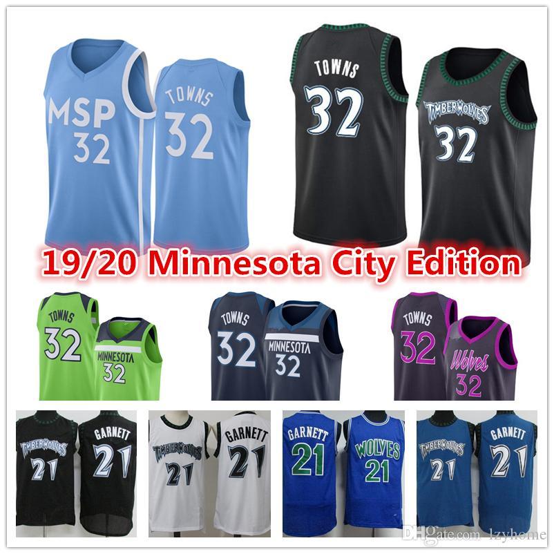 Vintage Kevin 21 Garnett Erkek D'Angelo 0 Russell Karl-Anthony 32 Kasabalar İl MinnesotaTimberwolves2020 Basketbol Formalar