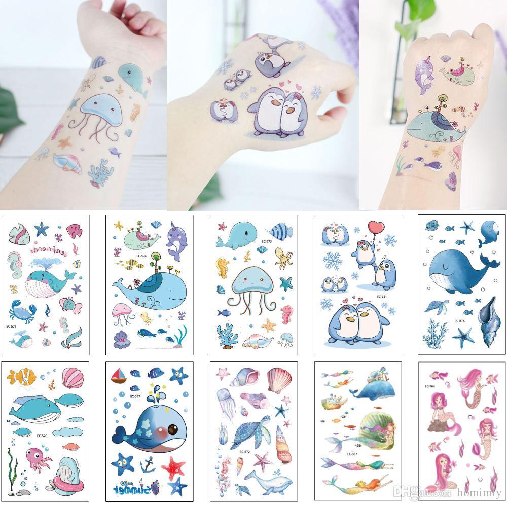 Blue Sea World Design Tattoo Cute Whale Sea Turtle Shell Star Jellyfish Decal Waterproof Temporary Fake Body Tattoo Sticker for Kid Girl Boy