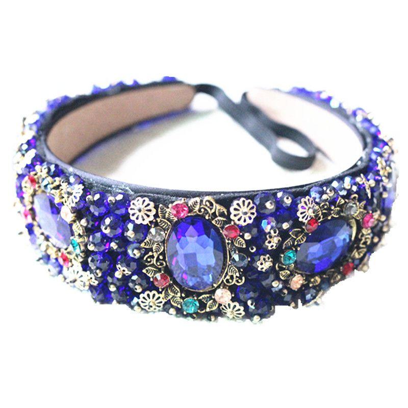 Novia Tiaras Barroco Corona Azul Rhinestone Beads Hair Bands Crystal Velvet Wide Bandas Para Las Mujeres Del Partido Joyería Del Pelo de La Boda C18112001