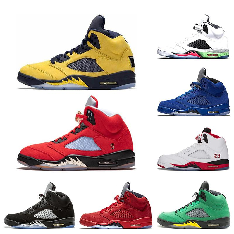 Azul Trophy Room Ice 5 5s Mens tênis de basquete Laney Red Blue Suede Fab 5 Sp Fire Red Sports Sneakers 7-13