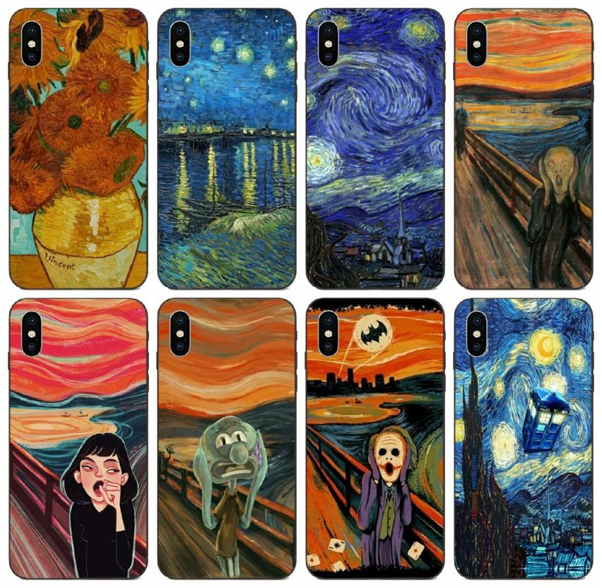 [TongTrade] Van Gogh Starry Night Star Panda Rick Scream By Munch Case For iPhone 11 Pro X XS Max 6s 5s Galaxy A50 Huawei P7 Xiaomi 5S Case