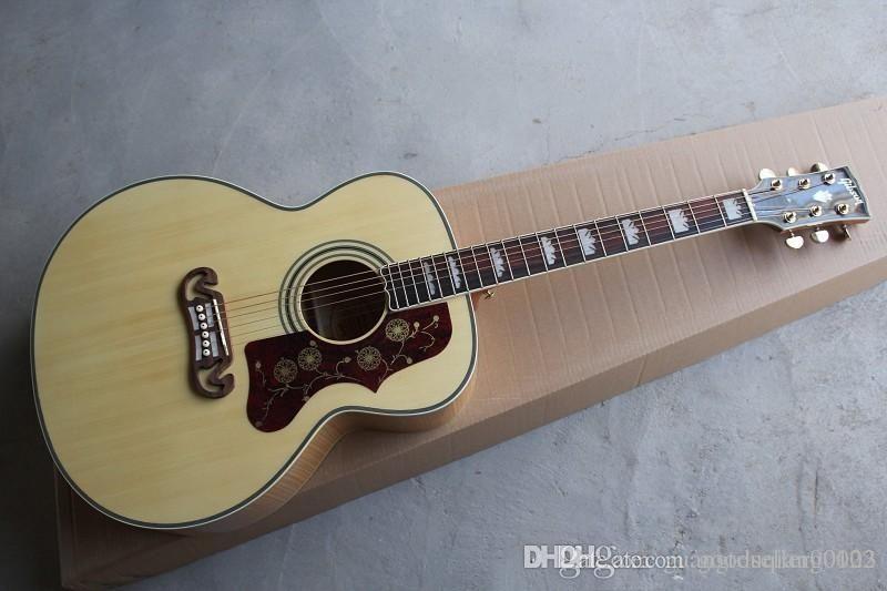color natural MEW S-J-200 de la guitarra acústica rayas de tigre Guitarra de chapa de madera de la guitarra acústica