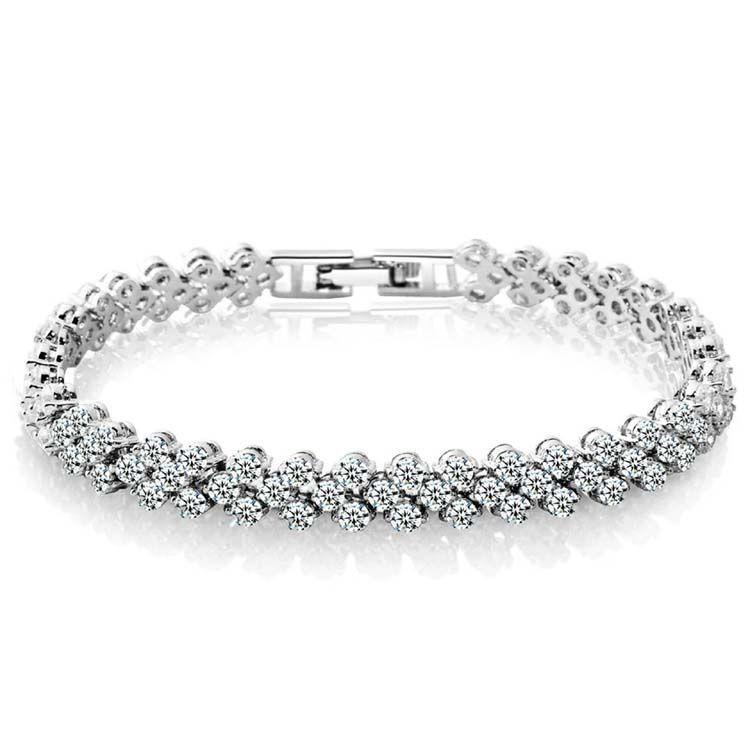 أساور الفضة الذهب تنس سوار فاخر ساطع تشيكوسلوفاكيا الماس كريستال الإسورة الأساور الأزياء والمجوهرات بالجملة شحن مجاني 0063WH