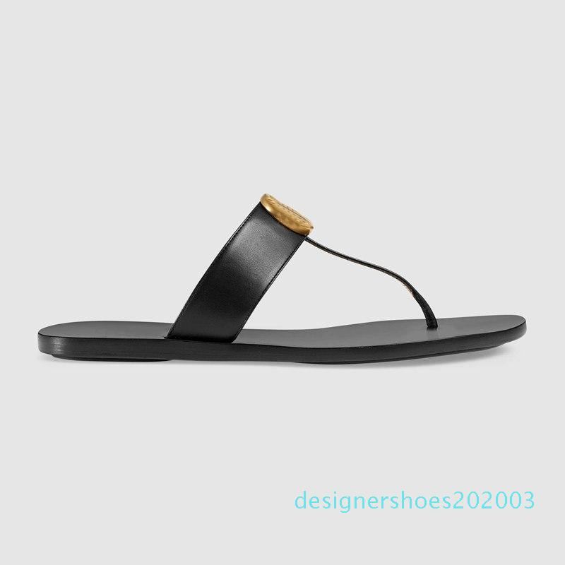 mens and womens fashion Black 10mm Marmont Leather Thong Sandals adults unisex beach causal slippers size euro 35-45 d03