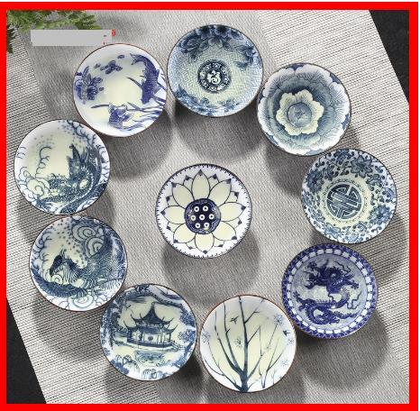 2020 4pcs/set Blue and white porcelain tea Cup,Hand-painted Cone Teacup,Chinese style pattern teacups,Tea accessories Puer cup set