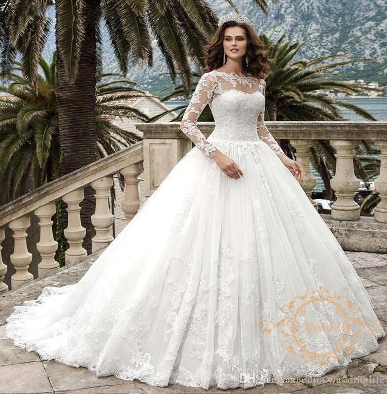 2020 Nuevo vestido de bola de encaje Vestidos de novia Sheer Cuello apliques de manga larga Dubai Arabe modesto Vestidos de Novia con COREST BACK BC2779