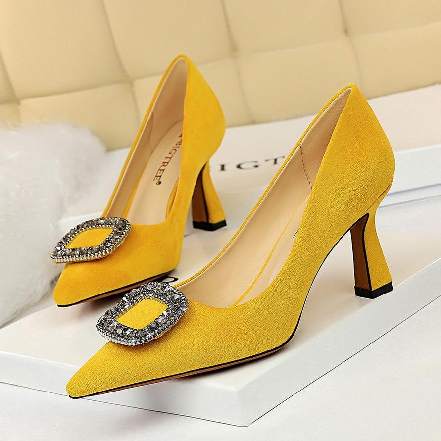 Les femmes boucle mode sexy strass chaussures pointues en daim banquet de haut talons fête dame de bureau OL pompes chaussures simples 1878-7 grande taille 35-43