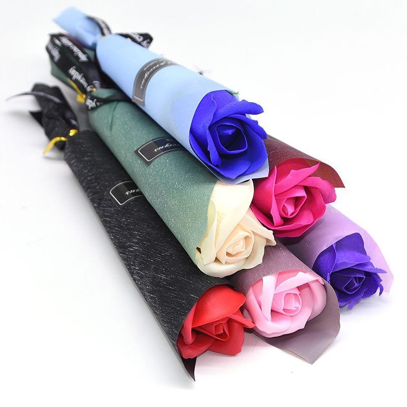 محفظة 5pcs متعدد الألوان الصابون زهرة روز زهور اصطناعية باقة الزفاف الديكور لمسة حقيقية الديكور الزهور للنوم ديكور