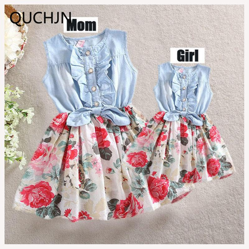 Fashion Set Mother Daughter Dresses Clothing Sets Mom And Me Floral Dress Family Clothes Q190524