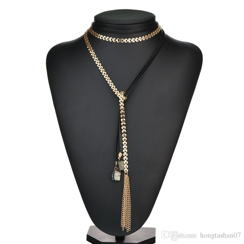 Vintage Alloy Long Tassel Chain Necklace Acrylic Pendants Accessories for Women Leather Choker Necklace N970