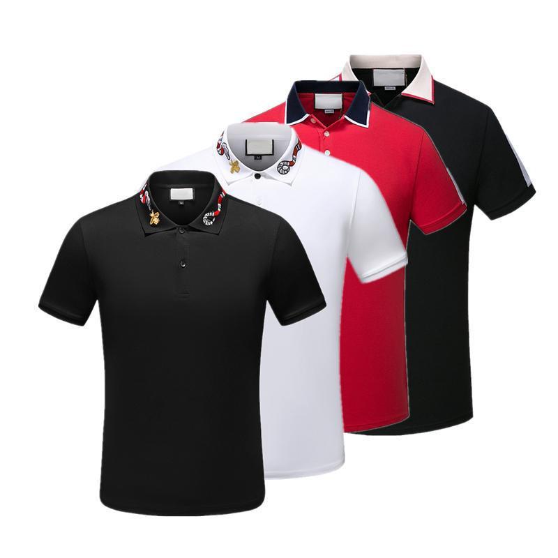 Италия дизайнер рубашки поло футболка дизайнерский бренд змея пчела цветочная вышивка мужские Поло High street Fashion Stripe Print Polo футболки