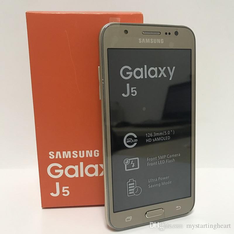 تجديد الهواتف المحمولة مقفلة سامسونج J5 J500F المزدوج سيم 4G LTE رباعية النواة 1.5GB 16GB J5 سامسونج الهاتف الذكي