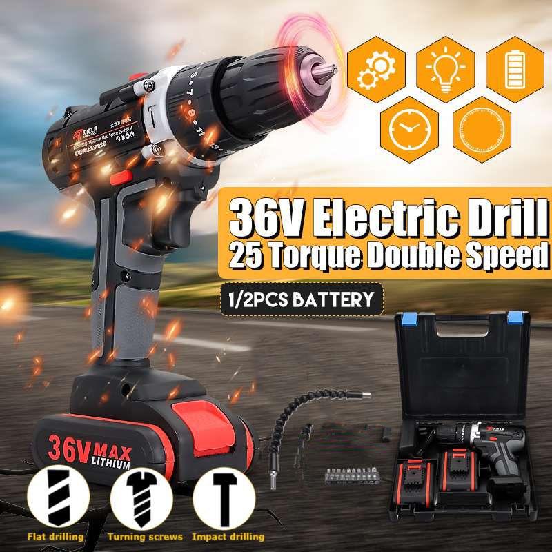 Elettrico Cordless Drill lavoro LED Regolazione 36V doppia velocità illuminazione impatto cacciavite Tools trapano elettrico con set di bit