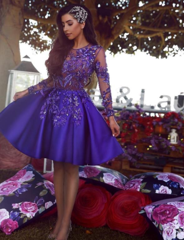 2020 Royal Blue Abiballkleider Sexy See-through Spitze Appliqued lange Ärmel Abendkleid-Cocktailparty-Kleider