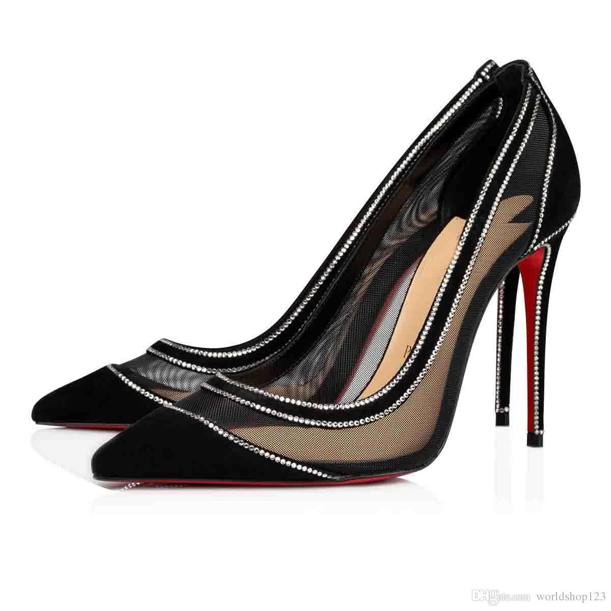 الكعوب العالية مثير سيدة Galativi نوع من الكريستال الأحمر أسفل مضخة حفل زفاف اللباس الأسود عاري المرأة فستان الزفاف أحذية سوبر الجودة EU35-43