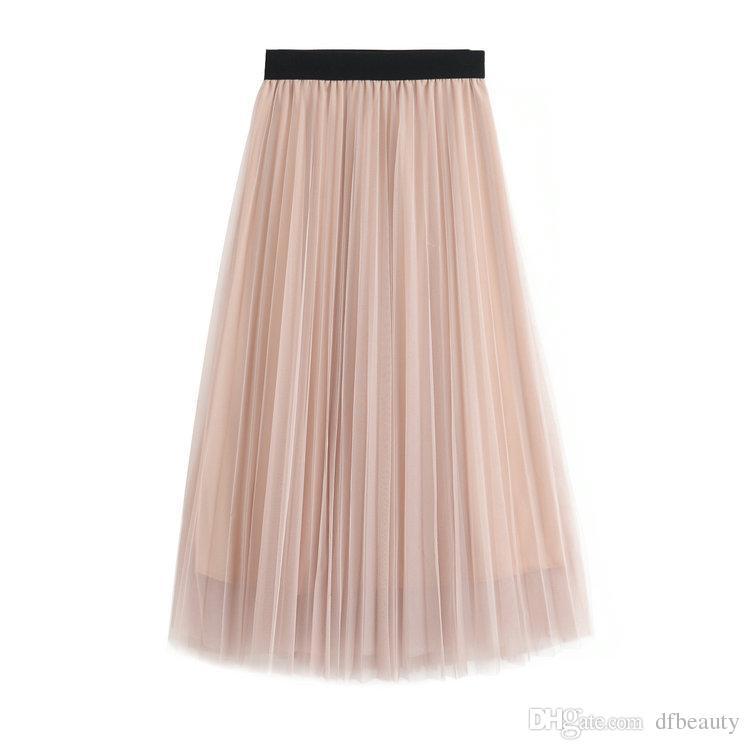 Moda feminina s vestido de roupas primavera e outono novas mulheres saias rosa cinza meia saia de malha inferior / saia plissada