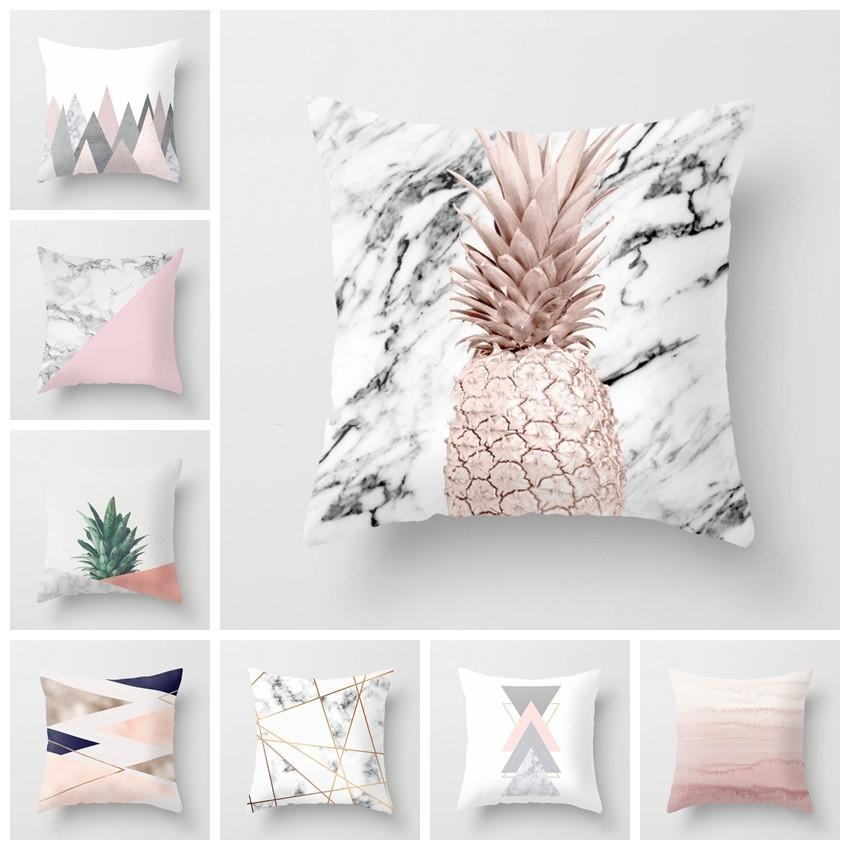 Pink Geometric Nordic Cushion Cover Tropic Pineapple Throw Pillow Cover Polyester Cushion Case Sofa Bed Decorative Pillow Freeshipping