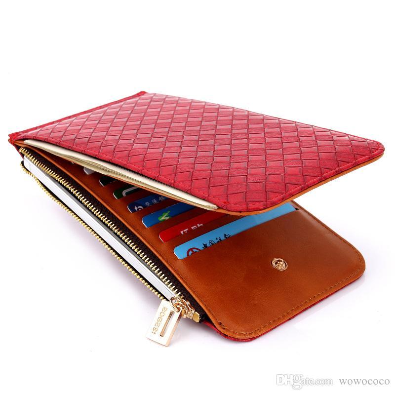 المنسوجة نمط عارضة رخيصة pu النساء محافظ فتحات بطاقة bifold حالة طويلة محفظة bogesi 19 * 10.5 * 1.5 سنتيمتر x489