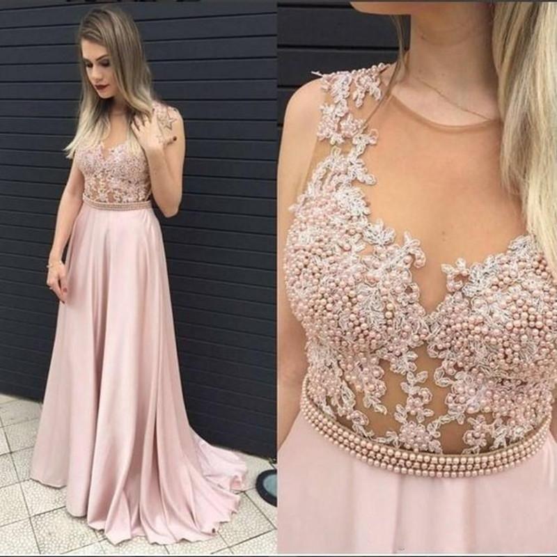 Erröten rosa lange Ballkleider mit Perlen schiere Reißverschluss zurück formale Abendkleider bodenlangen Partykleid