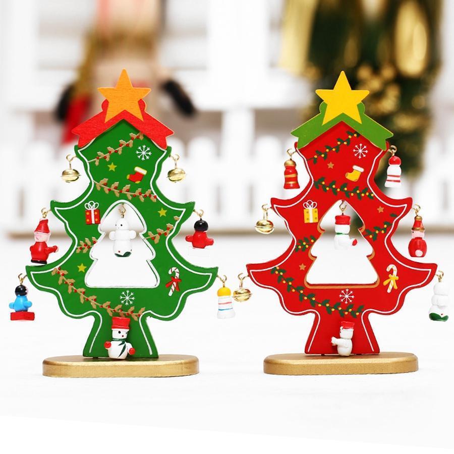 Bois arbre de Noël avec Hanging Décorations d'arbre de Noël Bells bricolage mini-table d'ornement Accueil TTA2116-2 Fournitures de fête