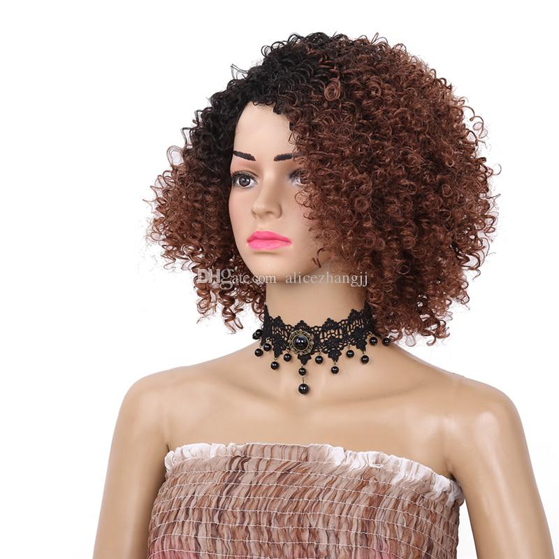 Afro Kinky Curly Short Non lace Synthetic Wigs for Women Black Ombre Color Natural Afro Hair Free Shipping