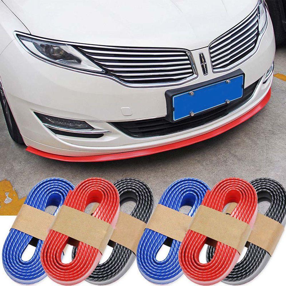 Universal Car Carbon Fiber Front Bumper Lip Splitter Chin Spoiler Trim Protector Car Accessories Red